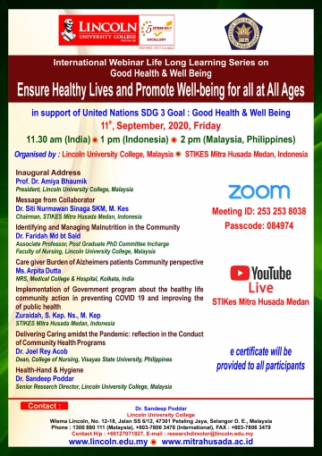 International Webinar Life Long Learning Series on Good Health & Well Being, Ensure Healthy Lives and Promote Well-being for all at All Ages